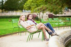 Couple having a date in Tuileries, Paris Stock Images