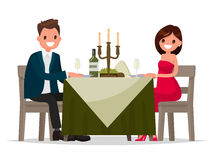 Couple having dinner by candlelight. Man and woman sitting at th. E table. Vector illustration in a flat style Royalty Free Stock Photo