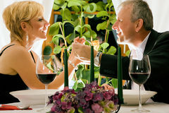 Couple having dinner in restaurant Royalty Free Stock Photo