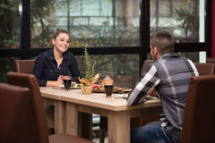 Couple Having Dinner In A Restaurant Royalty Free Stock Photography