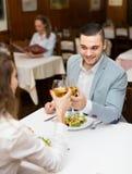 Couple having dinner in restaurant Royalty Free Stock Image