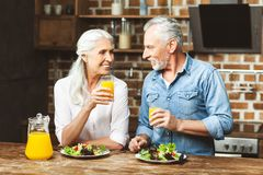Couple having dinner together stock image