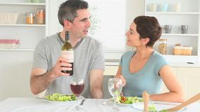 Couple having dinner together stock video