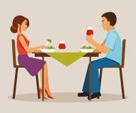 Couple having dinner. Vector illustration Royalty Free Stock Image