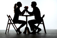 Couple Having Dinner With Wine Glass On Table Royalty Free Stock Image