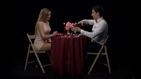 Couple Having Dinner With Wine Glass On Table,Slow stock video