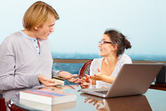 Couple having discussion about financial Stock Photos
