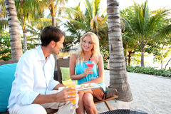 Couple having a drink in the evening Royalty Free Stock Photo