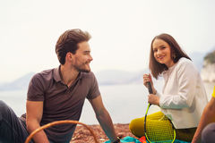 Couple having fun at the beach Stock Photography