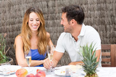 Couple having fun during brunch Royalty Free Stock Photography