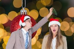 Couple having fun during christmas time Royalty Free Stock Image