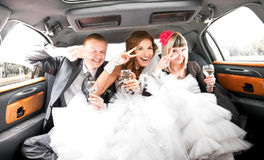Couple having fun with friends in limousine Stock Images