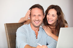 Couple having fun at home Stock Photography