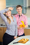 Couple having fun on a kitchen Stock Photo