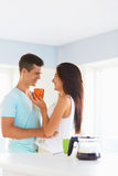 Couple having fun in the kitchen Stock Photography