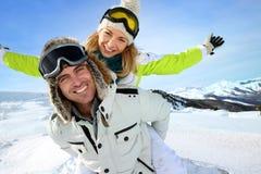 Couple having fun at the mountain royalty free stock photos