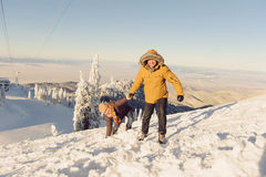 Couple having Fun in Mountains Royalty Free Stock Photography