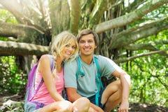 Couple having fun outdoors on hike Royalty Free Stock Photo