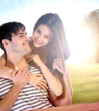 Couple having fun in the park Stock Photography