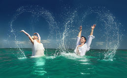 Couple  having fun in the sea Royalty Free Stock Photography
