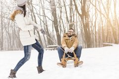 On a sledge Royalty Free Stock Photo