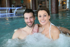 Couple having fun in spa center Stock Image