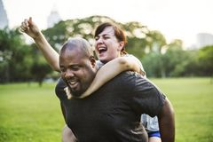 Couple having fun together at the park Royalty Free Stock Photography