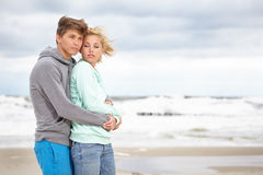 Couple  having fun wearing warm clothes outside Royalty Free Stock Photography