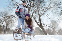Couple having fun in wintertime Stock Photography