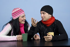 Couple having a funny conversation royalty free stock image