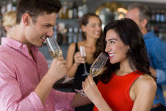 Couple having glass of champagne Stock Image