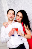 Couple having a glass of wine together Stock Photography