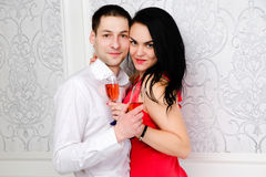 Couple having a glass of wine together Royalty Free Stock Photography