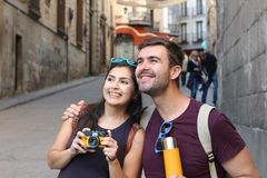 Couple having a great time abroad.  royalty free stock image