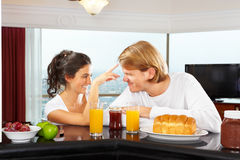 Couple having great time on breakfast Stock Photography