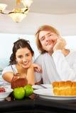Couple having great time on breakfast Stock Photo