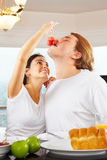 Couple having great time on breakfast Stock Image