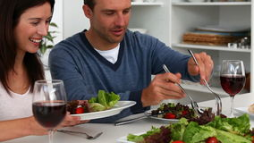 Couple having a happy dinner stock video footage