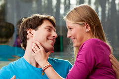 Couple having happy time stock photography