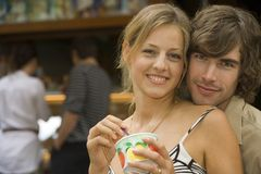 A couple having ice cream. Royalty Free Stock Photos