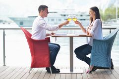 Couple having lanch at beautiful restaurant Royalty Free Stock Photos
