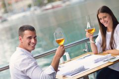 Couple having lanch at beautiful restaurant Royalty Free Stock Photo