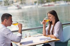 Couple having lanch at beautiful restaurant Royalty Free Stock Image