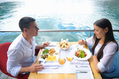 Couple having lanch at beautiful restaurant Stock Photo