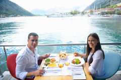 Couple having lanch at beautiful restaurant Royalty Free Stock Images