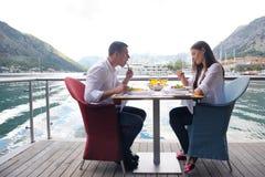 Couple having lanch at beautiful restaurant Stock Image
