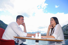 Couple having lanch at beautiful restaurant Stock Images