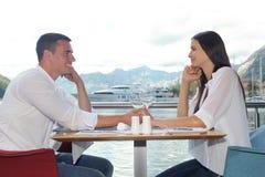 Couple having lanch at beautiful restaurant Royalty Free Stock Image