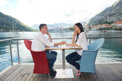 Couple having lanch at beautiful restaurant Stock Image