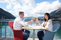 Couple having lanch at beautiful restaurant Stock Photos